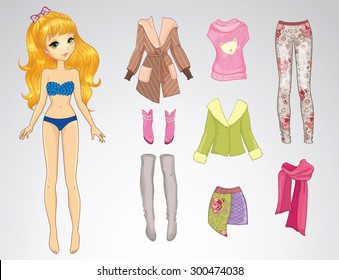 Paper doll of beautiful teenager girl and clothes for her