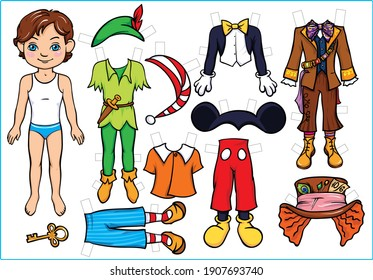 Paper doll. Boy with clothes. Cartoon Costumes. Illustration and vector outline - A4 paper ready to print.