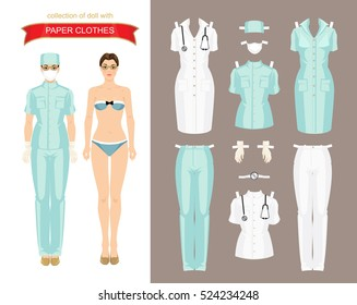 Paper doll with clothes for doctor, surgeon or nurse. Body template. Vector illustration of professional women in medical uniform isolated on white background.