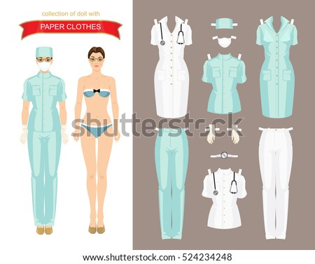 paper doll clothes doctor surgeon nurse stock vector royalty free
