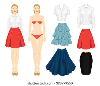 paper doll clothes office holiday body stock vector royalty free