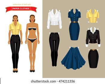 Paper doll with clothes for office and holiday. Body template