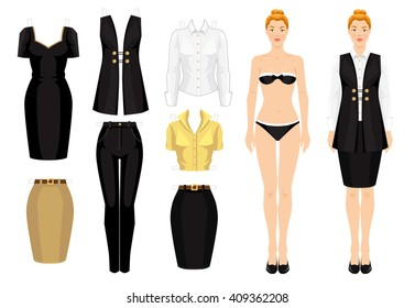 Paper doll with  clothes  for office. Vector illustration of redhead girl in formal black suit and white blouse