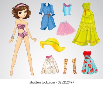 Paper doll with clothes and pretty pet. Casual style.