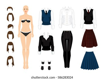 Paper doll with clothes for school, college and office. Different hairstyle template
