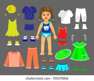 Paper doll clothes and set for play and creativity.