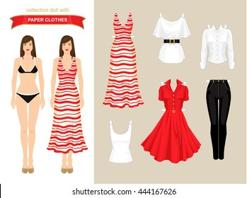 Paper doll with clothes for summer holiday. Body template