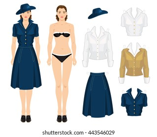 paper doll clothes school college young stock vector royalty free