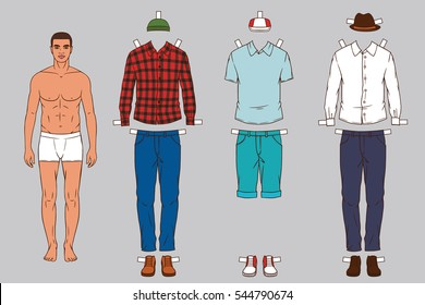 Paper doll of the Man with different outfits clothes. Modern, stylish, fashionable clothing for man. Hand drawn stylish outfits for young man.