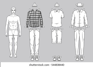 Paper Doll Of The Man With Different Outfits Clothes For Drawing Modern Stylish