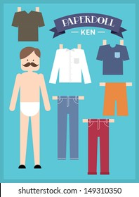 paper doll man template vector/illustration