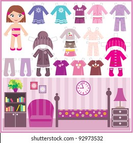 Paper doll with a set of clothes and a room. vector