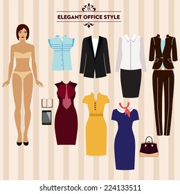 Paper doll with a set of elegant clothes. Business style. Beautiful fashion girl. Set of clothes for work