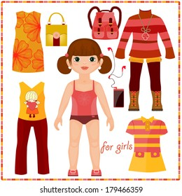 Paper doll with a set of fashion clothes. Cute girl. Template for cutting.