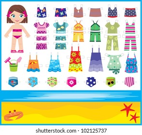 Paper doll with summer set of clothes.  vector, no gradient