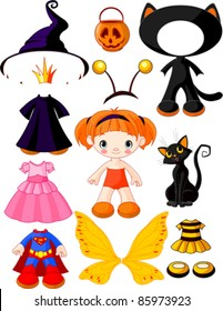 Paper Doll with three dresses for Halloween Party