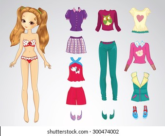 Paper doll of a young beautiful teenager girl and clothes for her