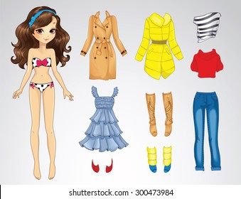 Paper doll of a young cute girl and clothes for her