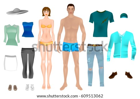 paper dolls boy girl body templates stock vector royalty free
