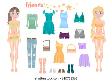Cute Dress Paper Doll Body Template Stock Vektorgrafik Lizenzfrei