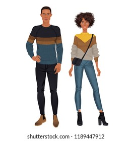 Paper dolls, hipsters, young woman and man in casual looks. Body templates.