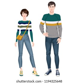 Paper dolls, hipsters, young woman and man in casual looks. Body templates. Isolated vector illustrations.