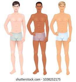 Paper dolls, three guys in underwear. Body templates