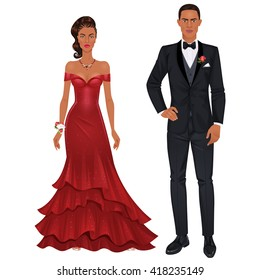 Paper dolls, young black woman and black guy in beautiful prom party looks, evening gown and suit. Body templates.