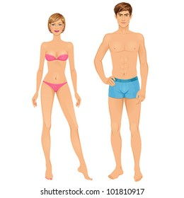 Paper dolls, young woman and guy in underwear. Body templates