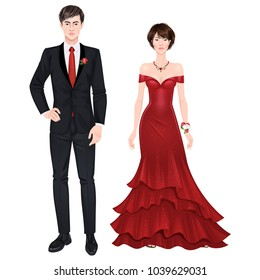 Paper dolls, young woman and guy in beautiful prom party looks, evening gown and suit. Body templates