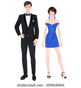 Paper dolls, young woman and guy in beautiful prom party looks, cocktail gown and suit. Body templates