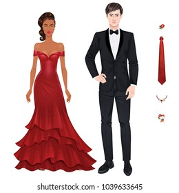 Paper dolls, young woman and guy in beautiful prom party looks, evening gown and suit, plus extra items to have more fun. Body templates
