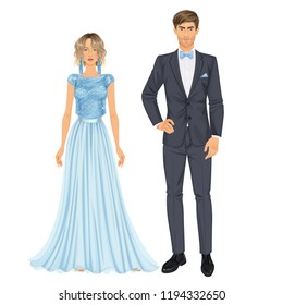 Paper dolls, young woman and guy in beautiful prom party or evening looks, gown and suit. Body templates.