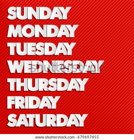 paper drawn weekdays seven days lettering のベクター画像素材