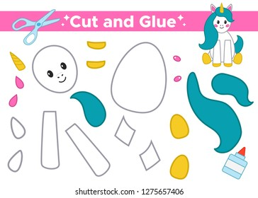 Paper educational game for kids. Cute cartoon sitting unicorn. Fairy tale. Cut elements and glue. Application for preschoolers. Vector illustration.