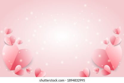 Paper elements in shape of heart flying on pink background. Vector symbols of love for Happy Women's, Mother's, Valentine's Day, birthday greeting card design.
