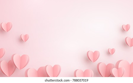 Valentines hearts postcard. Paper flying elements on pink background. Vector symbols of love in shape of heart for Happy Women's, Mother's, Valentine's Day, birthday greeting card design.