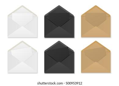 Paper envelopes with sheets. Mockup for design. Vector EPS10 illustration.