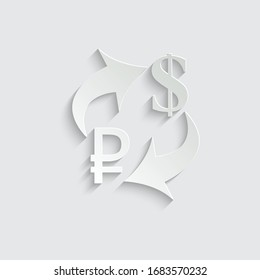 Paper Exchange money icon. Exchange of russian ruble and dollar currency. euro icon. Yen  dollar . vector