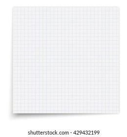 Paper exercise book in a cell. Texture notebook sheet illustration.