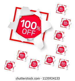 Paper explosion banner collection off with share discount percentage. Vector illustration
