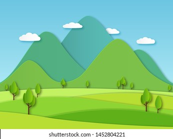 Paper field landscape. Summer landscape with green hills and blue sky, white clouds. Layered papercut creative vector 3d nature ecology graphics earth image
