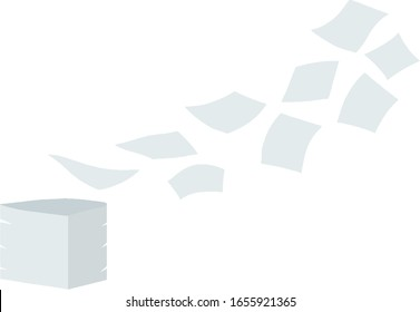 Paper files fall down. Blank sheet. White trash. Cartoon flat illustration. Stack and pile of documents. Office element. Thrown object. Flying sheets
