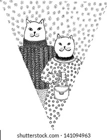 Paper flag with cat couple. Hand drawn illustration.