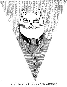 Paper flag with cat the professor. Hand drawn illustration.