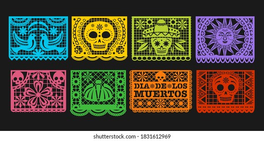 Paper flags, vector Mexican Day of the Dead papel picado bunting. Mexico Dia de los Muertos or Halloween holiday garland with cut out ornaments of skeleton skull, sombrero, marigold flower and bird