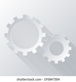 paper flat icon with a shadow. symbol settings