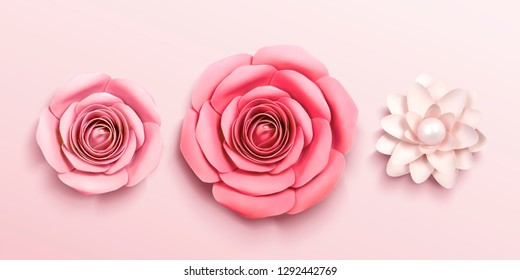 Paper flower in 3d illustration top view angle