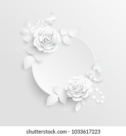 Paper Flower Frame White Rose White Stock Vector Royalty Free