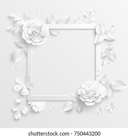 Paper flower images stock photos vectors shutterstock paper flower frame white rose white rectangular photo frame with white cut out mightylinksfo